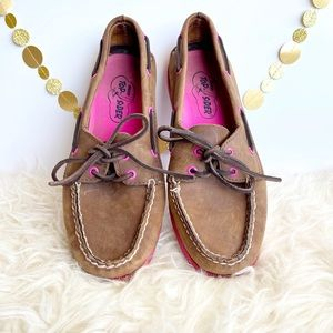 Sperry Top-Sider Brown Pink Boat Shoes size 8